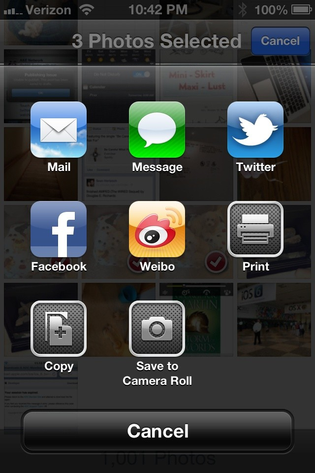 iOS 6 New Sharing Menu