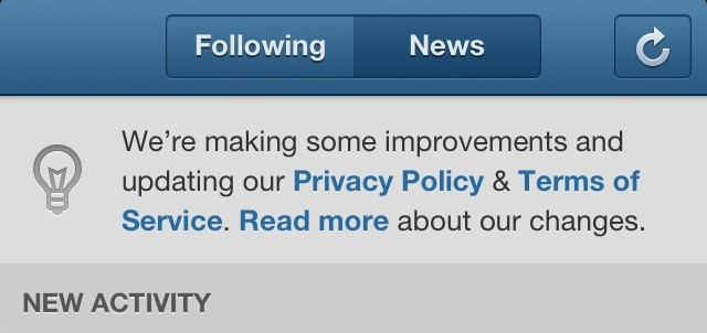 Intagram New TOS Notification