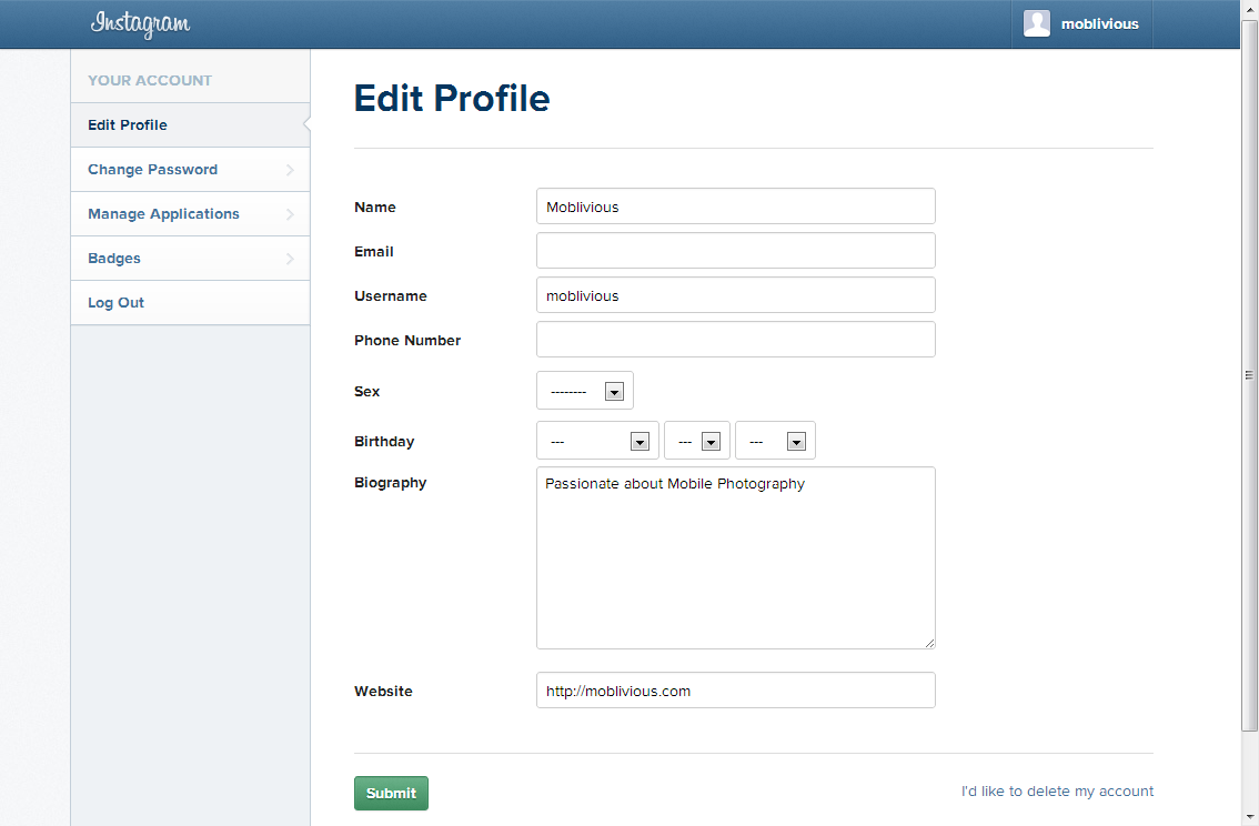 How to edit or delete your instagram profile on the web moblivious instagram edit profile page ccuart Images