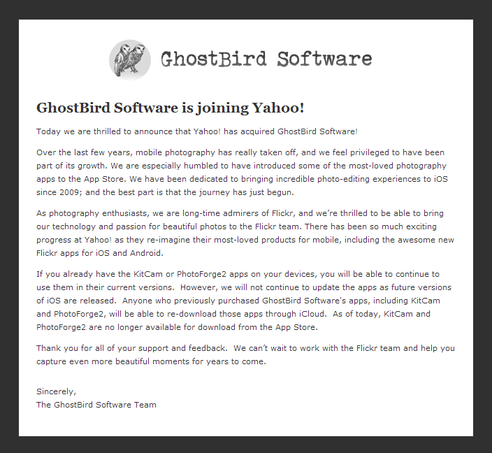 Ghostbird-Announcement