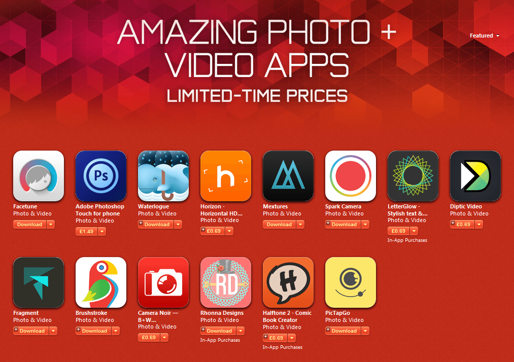 Amazing iOS Photo and Video Apps at Half-Price