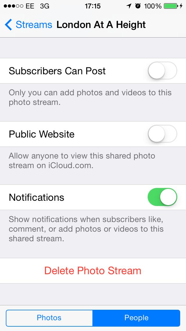 what happens if you delete photo stream