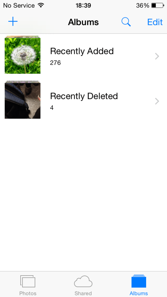 iOS8 - Recently Added - Recently Deleted