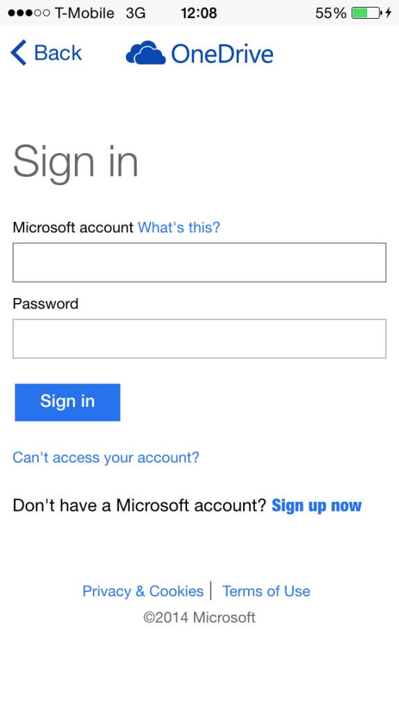 Sign In To OneDrive App
