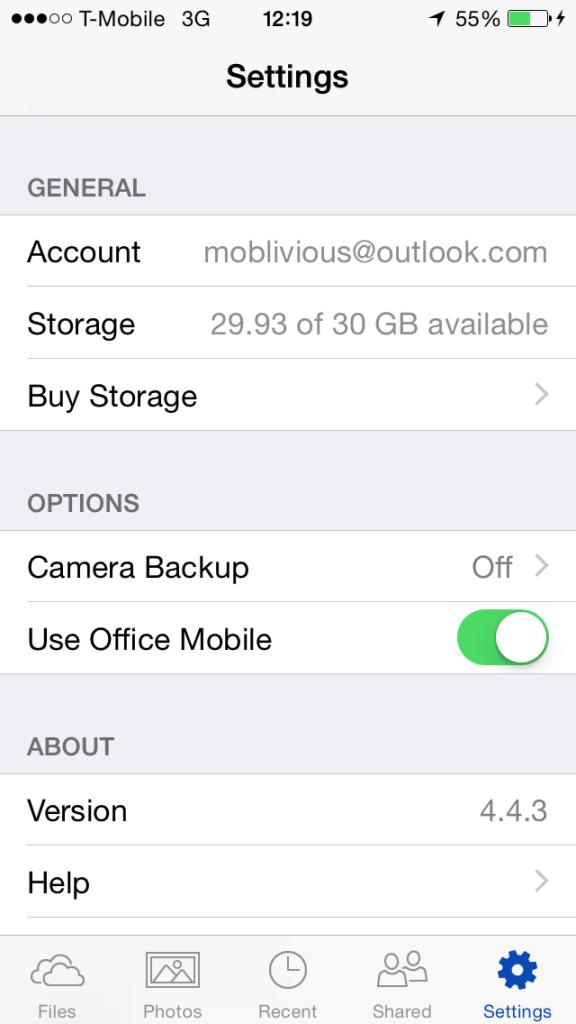 OneDrive - Turn On Camera Backup