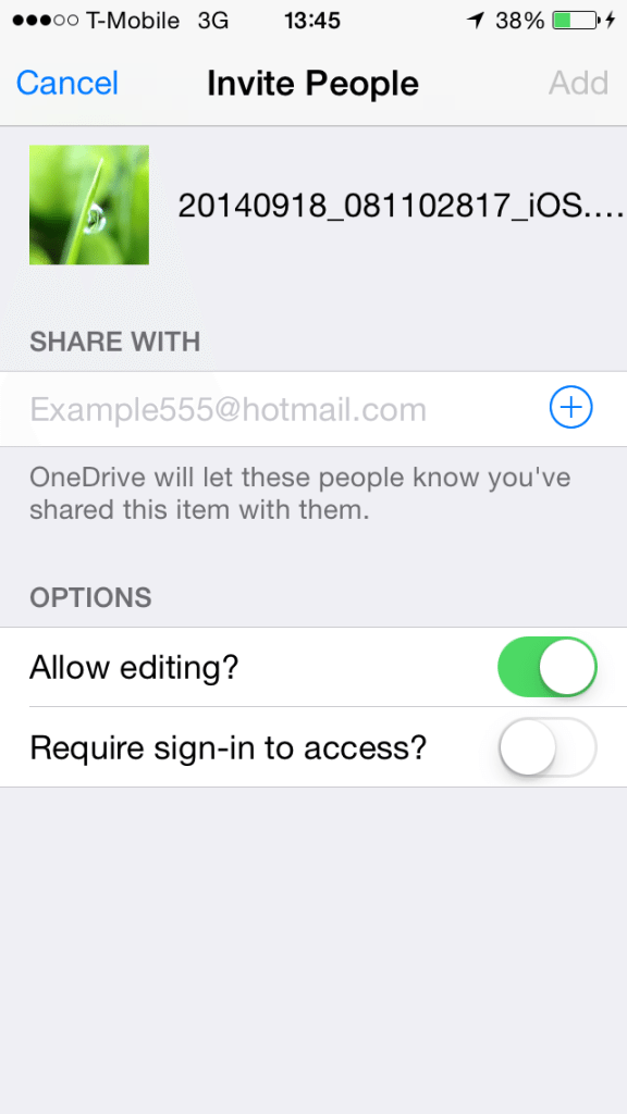 OneDrive - Invite People by Email