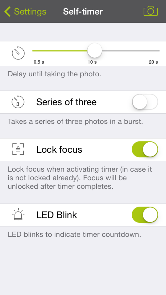 ProCamera 7 - Self Timer Settings
