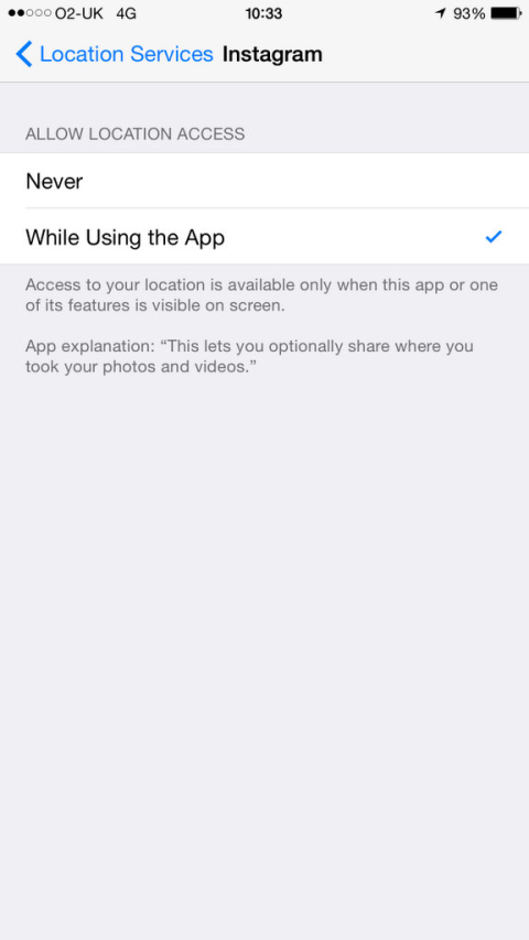 How to add location to your instagram photo after you have already turning onoff location service in ios devices ccuart Choice Image