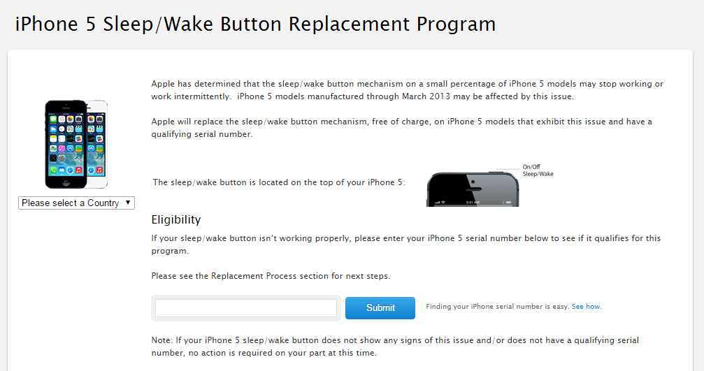 iPhone 5 Sleep/Wake replacement button