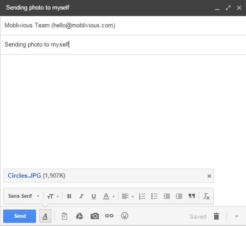 Sending Photo To Myself via Gmail