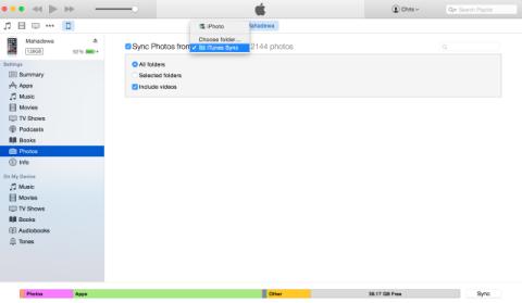 iTunes Photo Sync Menu