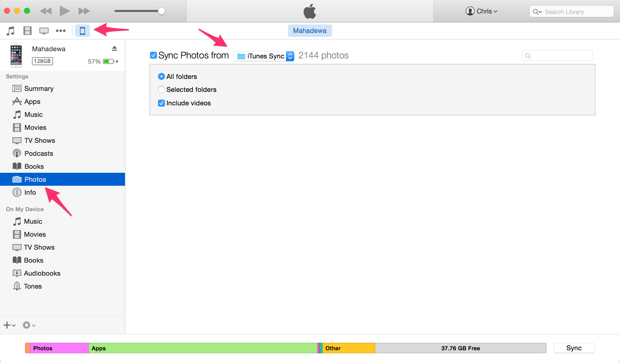 how to download photos from iphone to itunes
