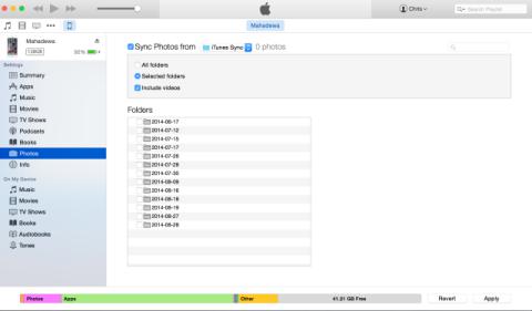 iTunes Photo Sync - Selection