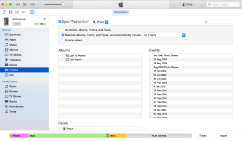 iTunes Photo Sync from iPhoto