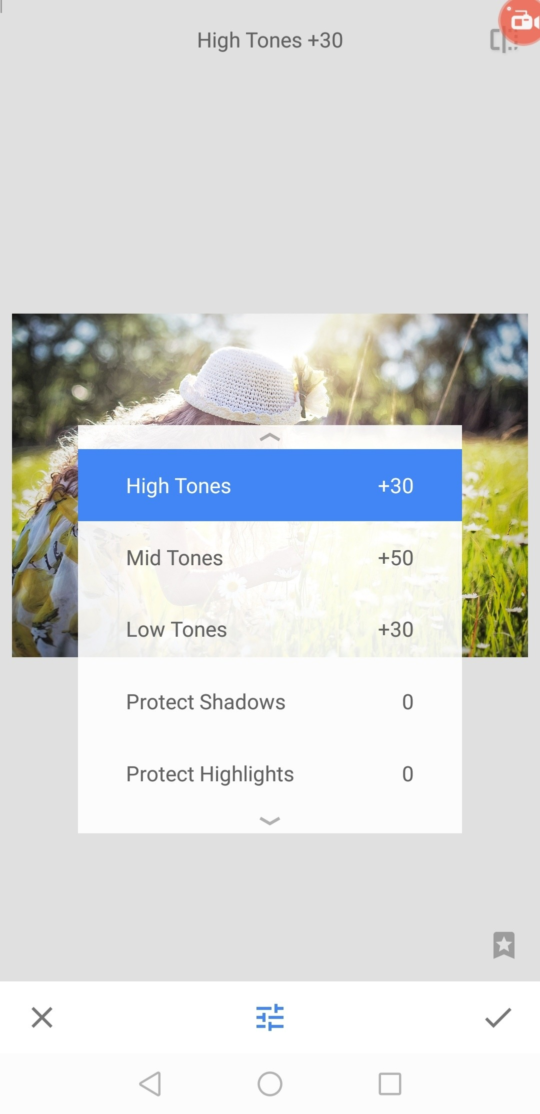 tonal contrast effect in snapseed app