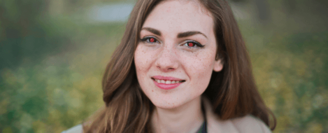 portrait of a lady with red eyes
