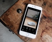 Editing a photo using VSCO filter installed on a iphone 6 smartphone
